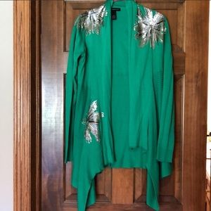 INC green gold(sequins) cardigan great condition